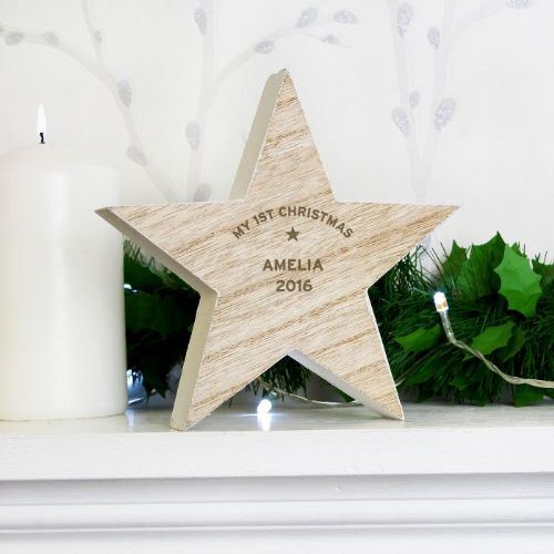 Personalised Wooden Star Christmas Decoration - Rustic Natural Christmas Star Any Name and Message